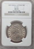 Bust Half Dollars: , 1829 50C Small Letters AU55 NGC. O-107. NGC Census: (138/482). PCGSPopulation (174/407). Mintage: 3,712,156. Numismedia W...