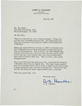 Autographs:Letters, 1979 Happy Chandler Signed Letter re: Integration of Baseball....