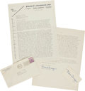 Autographs:Letters, 1942 Fred Snodgrass Signed Letter re: Near Riot at BostonBallgame....