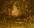 Fine Art - Painting, American:Antique  (Pre 1900), RALPH ALBERT BLAKELOCK (American, 1847-1919). SunsetLandscape. Oil on board. 5 x 6 inches (12.7 x 15.2 cm). Signedlowe...
