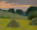 Paintings, ARTHUR WESLEY DOW (American, 1857-1922). Haystacks, 1899. Oil on canvasboard. 8-1/2 x 10-1/2 inches (21.6 x 26.7 cm). Si... (Total: 2 Items)
