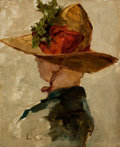 Paintings, EMIL CARLSEN (American, 1853-1932). Woman with a Hat, 1881. Oil on canvas laid on board. 12 x 9-3/4 inches (30.5 x 24.8 ...
