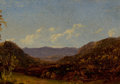 Fine Art - Painting, American:Antique  (Pre 1900), Attributed to DAVID JOHNSON (American, 1827-1908). Landscapewith Mountains. Oil on board. 3-3/4 x 5 inches (9.5 x 12.7 ...