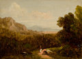 Fine Art - Painting, American:Antique  (Pre 1900), Attributed to DAVID JOHNSON (American, 1827-1908). Landscapewith Figure, 1870. Oil on board. 3 x 4-1/2 inches (7.6 x 11...
