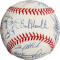 Autographs:Baseballs, 1995 New York Yankees Team Signed Baseball Sent to Dying MickeyMantle....