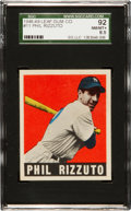 Baseball Cards:Singles (1940-1949), 1948 Leaf Phil Rizzuto #11 SGC 92 NM/MT+ 8.5 - Only One Higher! ...