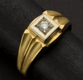 Estate Jewelry:Rings, Gent's Diamond & 18k Gold Ring. ...
