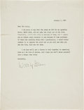Autographs:Letters, 1987 Woody Allen Signed Letter of Apology to Mel Allen....