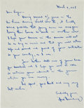 Autographs:Letters, 1968 Hank Greenberg Handwritten Signed Letter to a Vietnam War Recruit....