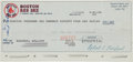 Autographs:Checks, 1990 Bill Buckner's Last Boston Red Sox (and Career) Paycheck,Signed....