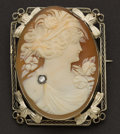 Estate Jewelry:Cameos, White Gold Framed Cameo With Diamond. ...
