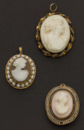 Estate Jewelry:Cameos, Three Early Gold Cameos. ... (Total: 3 Items)