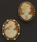 Estate Jewelry:Cameos, Two Gold Shell Cameos Pins. ... (Total: 2 Items)