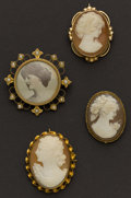 Estate Jewelry:Cameos, Three Gold Cameo Pins & One Early Gold Locket. ... (Total: 4 Items)