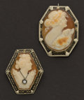 Estate Jewelry:Cameos, Two Gold Shell Cameo Pins. ... (Total: 2 Items)