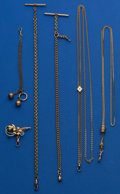 Timepieces:Watch Chains & Fobs, Six Gold Filled Lots Five Chains & One Watch Fob & OneWatch Pin. ... (Total: 6 Items)