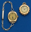 Timepieces:Other , Tiffany & Co. 14k Wristwatch & Swiss 14k Gold Pendant WatchRunners. ... (Total: 2 Items)