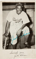 Autographs:Post Cards, 1951 Jackie Robinson Double-Signed Postcard....