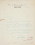 Autographs:Letters, 1926 Ty Cobb Signed Letter of Sympathy to Christy Walsh....