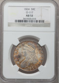 Bust Half Dollars: , 1824 50C AU53 NGC. O-117. NGC Census: (54/519). PCGS Population(69/405). Mintage: 3,504,954. Numismedia Wsl. Price for pr...