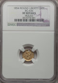 California Fractional Gold: , 1854 50C Liberty Round 50 Cents, BG-436, R.6, -- Holed -- NGCDetails. XF. NGC Census: (0/3). PCGS Population (0/15). (#1...
