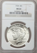 Peace Dollars: , 1924 $1 MS64 NGC. NGC Census: (17558/8463). PCGS Population(12042/3363). Mintage: 11,811,000. Numismedia Wsl. Price for pr...