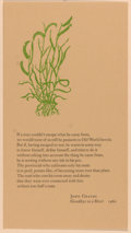 Books:Prints & Leaves, [Broadside]. John Graves. Excerpt from Goodbye to a River. [San Marcos: Al Lowman, 1976]. Measures 9 x 5 inches....