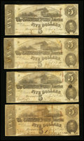 Confederate Notes:1863 Issues, T60 $5 1863 Four Examples.. ... (Total: 4 notes)