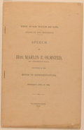 Books:Americana & American History, Marlin E. Olmstead. The War With Spain. Stand by the President.Speech of Hon. Marlin E. Olmsted, of Pennsylvania. Deliv...