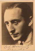 Books:Music & Sheet Music, Vladimir Horowitz (Russian-born, American Virtuoso Pianist, 1903-1989). Signed Photograph. New York: 1943. Black and white p...