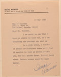 Books:Science Fiction & Fantasy, Isaac Asimov (American Writer, 1920-1992). Typed Note Signed. New York: 19 May 1980. Addressed to Sherry Sussman, apologizin...