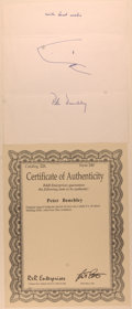 Books:Literature 1900-up, Peter Benchley (American Writer, 1940-2006). Autograph SentimentSigned with an Original Drawing of a Shark. [N.p., n.d.]. S...