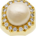 Estate Jewelry:Rings, Freshwater Cultured Pearl, Diamond, Gold Ring, Henry Dunay. ...