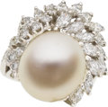 Estate Jewelry:Rings, Baroque South Sea Cultured Pearl, Diamond, Platinum Ring. ...