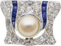 Estate Jewelry:Brooches - Pins, Art Deco Cultured Pearl, Diamond, Sapphire, Platinum Brooch. ...