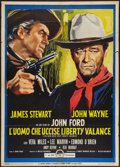"Movie Posters:Western, The Man Who Shot Liberty Valance (Paramount, 1962). Italian 2 - Foglio (39"" X 55""). Western.. ..."