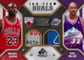 """Basketball Cards:Singles (1980-Now), 2009/10 NBA SP Game Used """"Tag Team Duals"""" Jordan/Malone Jersey Swatch #3/10...."""