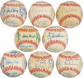 Autographs:Baseballs, 1969-83 Seattle Pilots/Mariners Team Signed Baseballs Lot of 8....