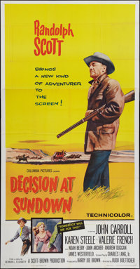 "Decision at Sundown (Columbia, 1957). Three Sheet (41"" X 81""). Western"