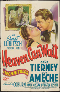 "Heaven Can Wait (20th Century Fox, 1943). One Sheet (27"" X 41""). Comedy"