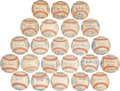 Autographs:Baseballs, 1961-83 California Angels Team Signed Baseballs Lot of 23....