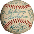 Autographs:Baseballs, 1954 Boston Red Sox Team Signed Baseball with Harry Agganis,PSA/DNA NM+ 7.5....