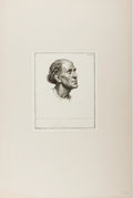 """Books:Prints & Leaves, Paul Drury [artist]. Original Etching """"First Italian Head"""", circa1928. Plate size 5.5 x 6.75 inches, 7.25 x 9.25 inches ove..."""