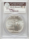 Modern Issues, 1986-P $1 Statue of Liberty Silver Dollar, Insert autographed by John M. Mercanti, 12th Chief Engraver of the U.S. Mint MS70 ...