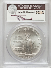 1986-P $1 Statue of Liberty Silver Dollar, Insert autographed by John M. Mercanti, 12th Chief Engraver of the U.S. Mint...