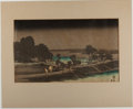 """Books:Prints & Leaves, Hiroshige [artist]. Japanese Woodblock Print """"Evening Rain"""".Approximately 14 x 8.5 inches. A wonderfully subdued woodblock ..."""