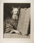 """Books:Prints & Leaves, Gérard Edelinck [artist]. Engraving """"Moses With the Tablets of theLaw"""". Plate size 16.25 x 22 inches, 17.25 x 23 inches ove..."""