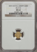 California Fractional Gold: , 1873 50C Liberty Octagonal 50 Cents, BG-915, Low R.4, MS62 NGC. NGCCensus: (2/15). PCGS Population (17/95). (#10773)...