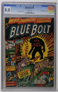 "Golden Age (1938-1955):Science Fiction, Blue Bolt #109 Davis Crippen (""D"" Copy) pedigree (Star Publications, 1951) CGC VF 8.0 Off-white pages. Basil Wolverton cover..."