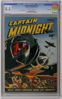 Captain Midnight #17 Crowley Copy pedigree (Fawcett, 1944) CGC VF+ 8.5 Off-white to white pages. Mac Raboy cover art. Ov...